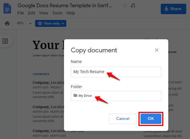 resume templates on google docs