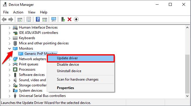 update generic pnp monitor