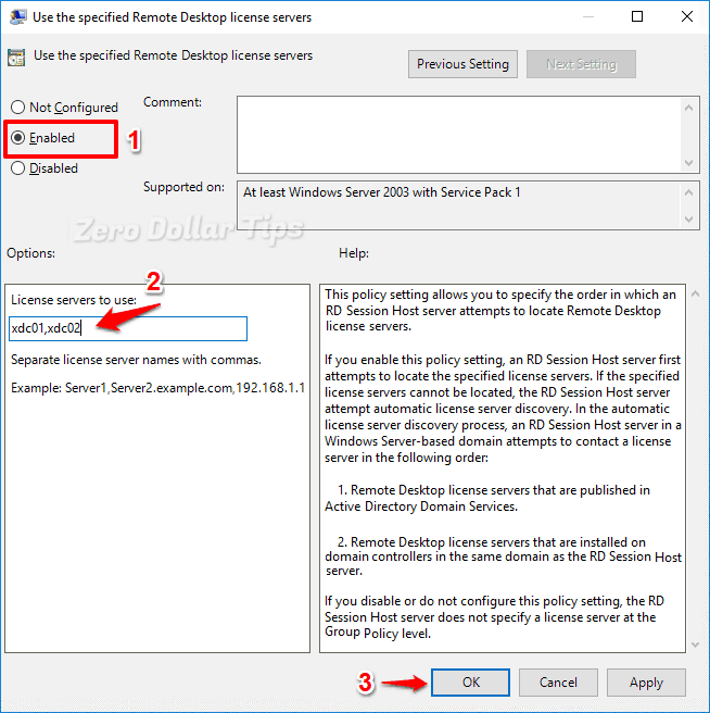use the specified remote desktop license servers