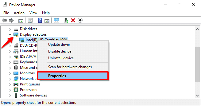 windows 10 display adapter properties