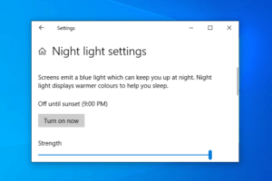 windows 10 night light not working