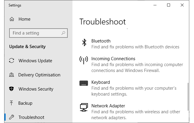 hardware and devices troubleshooter missing
