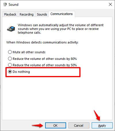 how to stop skype from lowering the volume on windows 10