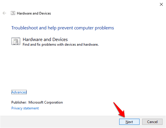 windows 10 hardware and devices troubleshooter missing