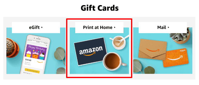 amazon print at home gift card