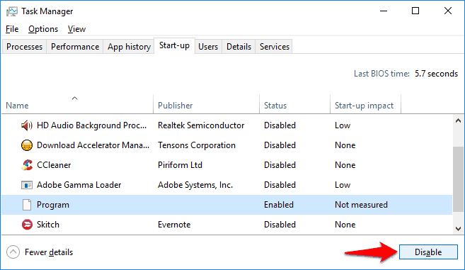 how to disable startup programs windows 10