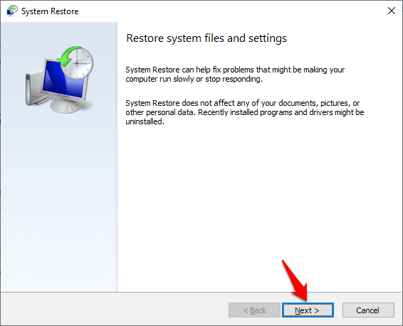 restore system files and setting