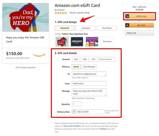 how to buy an amazon gift card