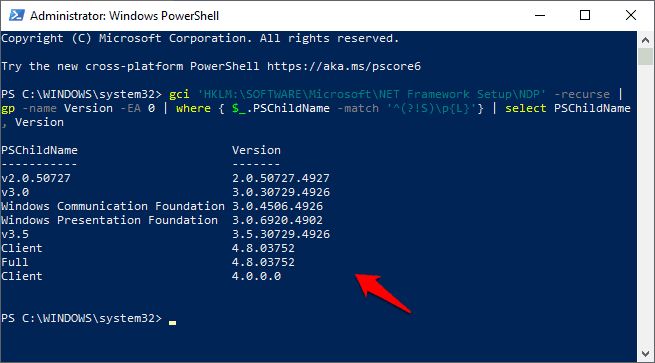 how to check .net framework version in windows 10