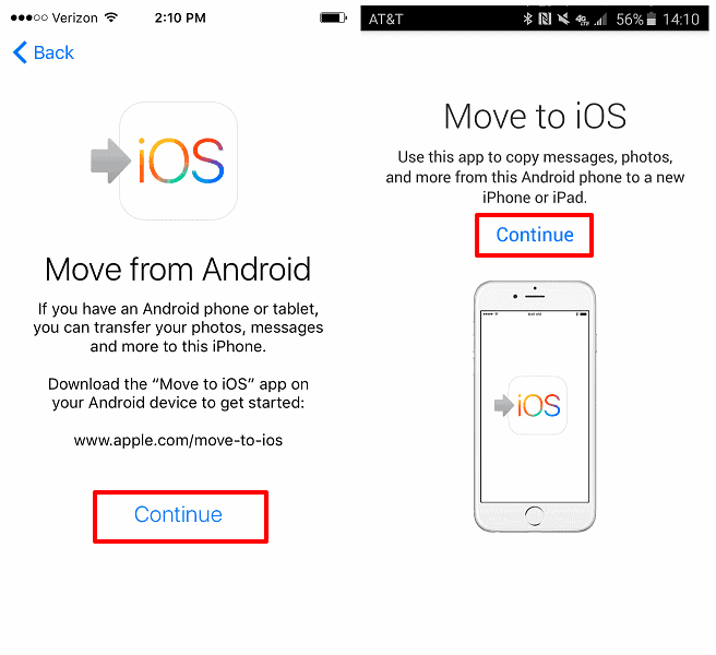 how to transfer android photos to iphone