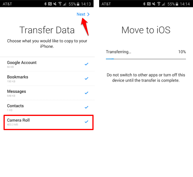 how to transfer photos from android to iphone without computer