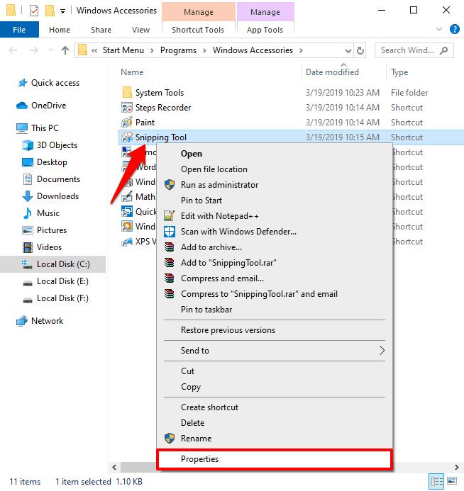 windows 10 snipping tool shortcut