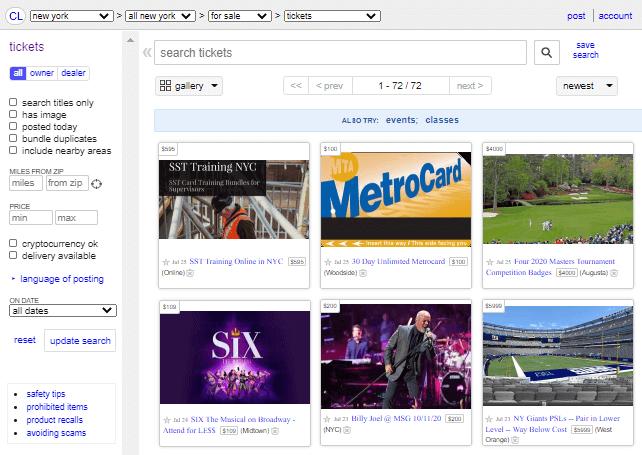best concert ticket resale sites