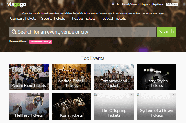 concert ticket resale sites
