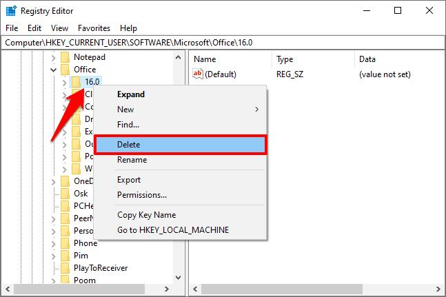 microsoft office registry keys