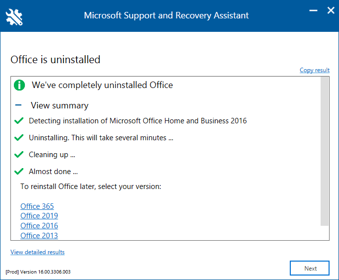 uninstall microsoft office completely