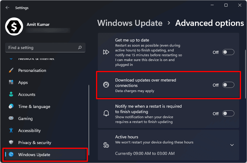 download updates over metered connections