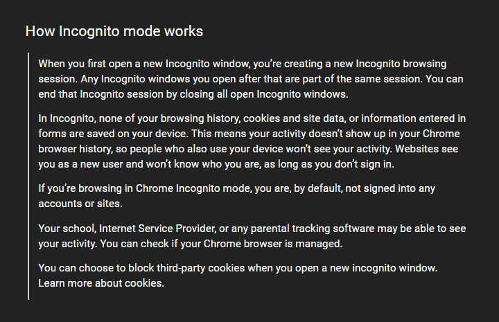 what is incognito mode in chrome